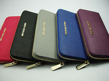 New Authentic MK Saffiano Multi Function PVC Zip Around Wallet