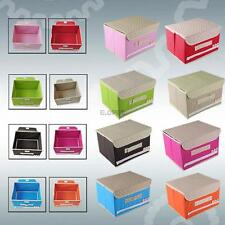 Home Paperboard Non Woven Fabric Storage Case Box Organizer With Lid Cover