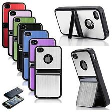 Protective Hard Case TPU Holder Case Cover for iphone 4 4S With Chrome Stand