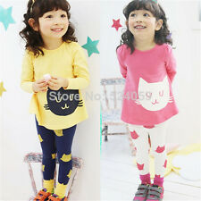 New Baby Toddler Girls Cat Face Long Sleeves Top + Leggings 2 pcs/ Set Outfit