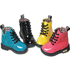 Fashion Childrens Kids Girls Boys Synthetic Leather Martin Shoes Ankle Boots