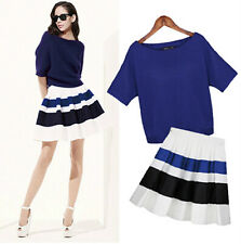 D4 2014 New Fall Women Bat Sleeve Knitted Top Shirt + Striped Skirt Suit Outfit
