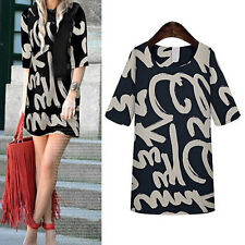 Fashion Women Mid Sleeves Letter Tattoo Printed Tops Blouse Dress Skirt