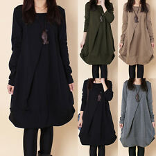 2014 New Fall Womens Korean Style Casual Round Neck Folds Dress