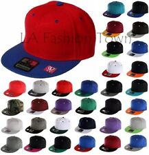 Plain Snapback Blank Basic Casual Hip Hop Flat Bill TWO Tone NEW