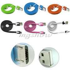 Multicolor 1M Flat Micro USB Sync Data Charger Cable Cord For Mobile Smart Phone