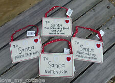 Shabby Chic Letter to Santa Envelope Kids Christmas Tree Decoration 4 designs