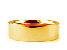 7mm 14K YELLOW GOLD FLAT PLAIN SHINY COMFORT FIT WEDDING BAND RING
