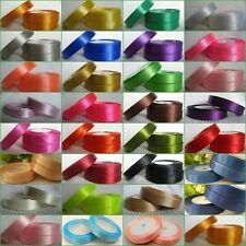 "15 yards Of 12mm (1/2"") Satin Ribbon Rolls Many Colours Free P&P"