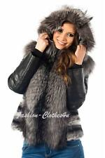 SEXY LADIES CHINCHILLA SILVER FOX FUR JACKET COAT LEATHER SLEEVES SIZE 8-14 NEW!