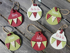 Shabby Chic Red Green Woodland Christmas Tree Decoration Mini Polka Dot Bunting