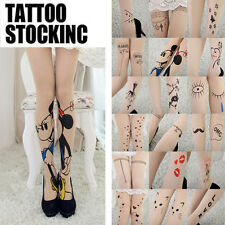 Great Sexy Womens Tattoo Pattern Transparent Sheer Pantyhose Stocking Legging