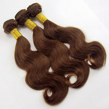 100% Brazilian human hair weft extensions weave color #4 brown 3 bundles 300g