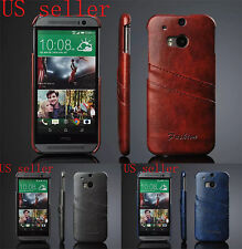 Luxury Oil wax PU Leather Flip Back Cover Card Holder Case for HTC One M8
