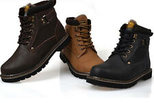 Mens winter Ankle Boots work Warm Fur snow casual Military Shoes black brown