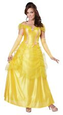 Princess Beauty Beast Belle Storybook Yellow Gold Dress Adult Costume Womens New
