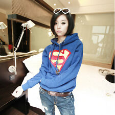 Fashion Women Superman Casual Hoodie Sweatshirt Coat Tops Outerwear Blue