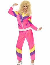 Ladies 80s Neon Pink Shell Suit Festival Outfit Fancy Dress Costume