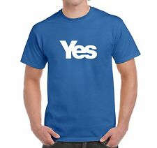 MEN'S T SHIRT VOTE YES FOR SCOTLAND SCOTTISH INDEPENDENCE IN ROYAL BLUE OR WHITE