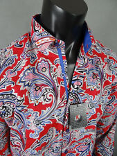 """Mens Button Down LONG SLEEVE Sport Shirt Red with Paisley's Design """"Slim Fit"""""""