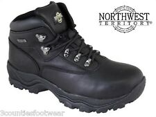 MENS WALKING  BOOTS WATERPROOF HIKING BOOTS BLACK LEATHER