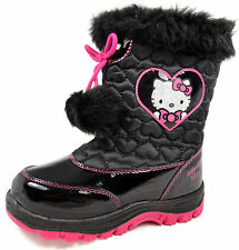 New Girls Hello Kitty Cute Winter Warm Black Patent Boots Pom Fur Quilted Heart