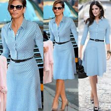 New Sexy Women's Polka Retro Dot Long Sleeve Party Office Casual Dress With Belt
