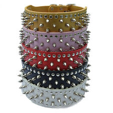 2 Inch Wide Leather Dog Collar Spiked Collar For Pitbulls Large Dog Necklace Red