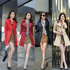 NEW Women OL Long Jacket Double Breasted Belted Turn-Down Collar Coat Outerwear
