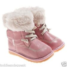 Little Blue Lamb Girls Toddler Light Pink Fleece Lined Squeaky Boots / Shoes