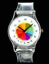 Lemon Oranges Rainbow Transparent Watch Cartoon Comic Boy Girl Child Baby Clock