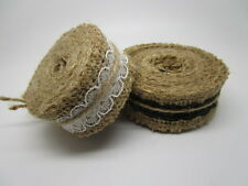 25mm*2m Natural Jute Burlap Hessian Ribbon Lace Trim Rustic Wedding Crafts
