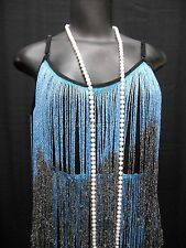 Gatsby Flapper fringed 1920's black and turquoise dress w/ headpiece and pearls