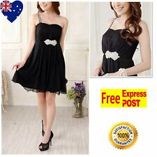 Black One Shoulder Girls Party Dress Jnr Bridesmaid Girl Dress Size 8 To 12