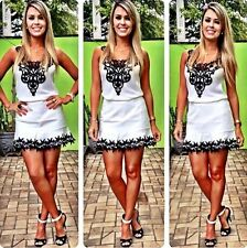 Women's fashion white dress with black cute lace vestidos de fiesta O-Neck dress