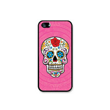 Pink Mexican day of the dead skull Rubber Case For iPhone 4 / 4s, 5 / 5s or 5c