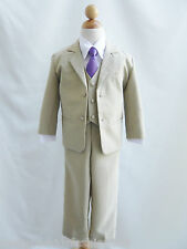 Baby toddler teen boy khaki/taupe/white color long tie formal suit bridal party