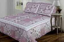 3 PC Quilt Mauve and Cream Floral Patchwork Design Full, Queen, King Size