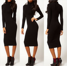 Woman's Full Sleeve Mid-calf Vintage Pinup Charm Temperament Slim Formal Dress