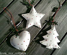 Shabby Chic Polka Dot Spotty Tree Star Heart Holly Christmas Decorations SET 2/3