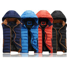 Cool Men Solid Collar Hooded Fitted  Sleeveless Vest Puffer Quilted Coat Jacket