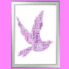 Personalised Dove Word Art Print - Ideal Christmas or birthday present
