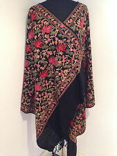 Stunning Indian Ladies Wool Embroidered Boho Shawl Stole Scarf Wrap - 3 Colours