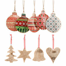 NEW Metal Wooden Hanging CHRISTMAS TREE DECORATIONS Baubles Tree Star Bell Heart