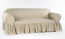 Cotton Dock Ruffled Round Arm Sofa/Loveseat/Chair Slip cover 100% Cotton Amy