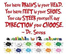 Dr Seuss Quote Vinyl Wall Art Kids Bedroom Decoration You have Brains