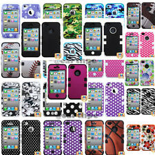 iPhone 4 4S Hybrid Tuff Case Cover many designs with Holster