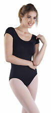 NEW! WOMENS DANCE SHORT CAPPED SLEEVE LEOTARD WITH SCOOP NECK. 9 COLORS! (x2491)