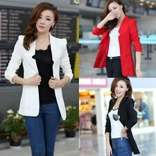 Fashion Women Blazer Notched Collar Long Sleeve Slim Long Suit Jacket Outerwear