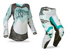 Fly Racing Ladies NEW 2016 Mx Kinetic Race Teal White Womens Motocross Gear Set